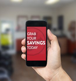 Mobile Phone with Text - Grab Your Savings Today